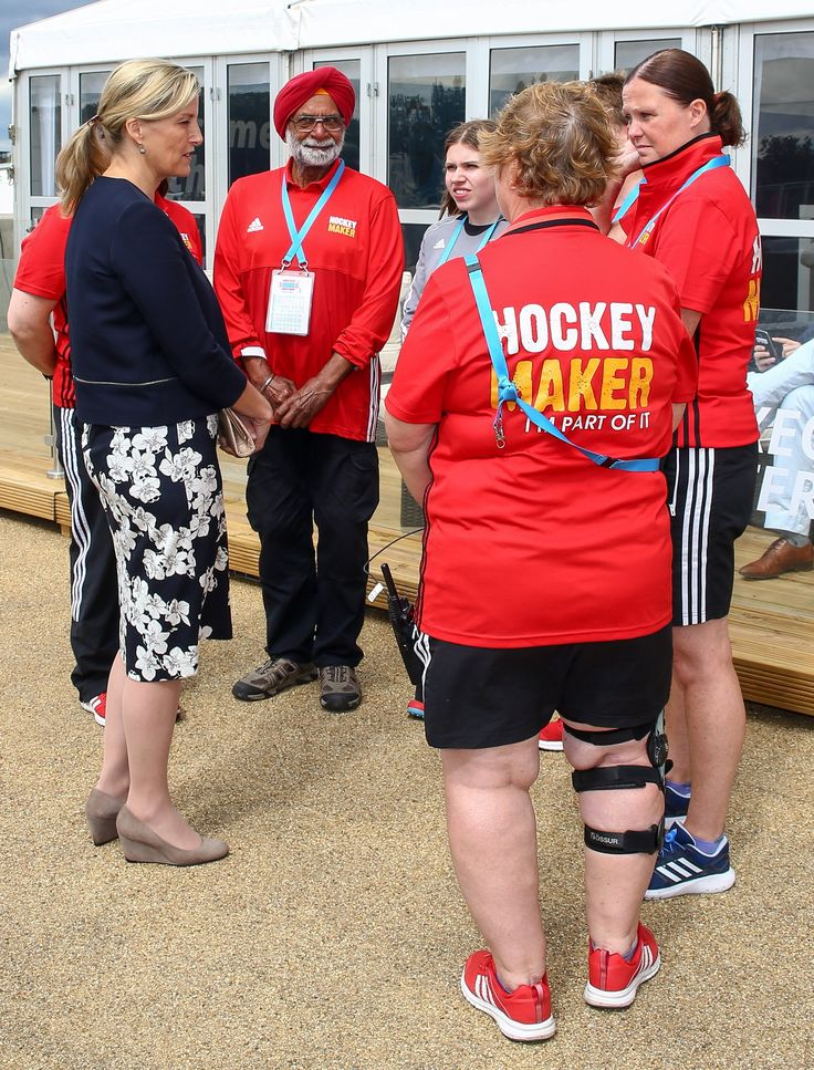 "Sophie, Countess of Wessex as Patron of England Hockey, attends the Men's World League Semi-Final at Queen Elizabeth Olympic Park on 25 June 2017 in London. ""Our patron HRH The Countess of Wessex meeting some of our Hockey Maker  volunteers today - including our youngest and oldest! #HWL2017"""