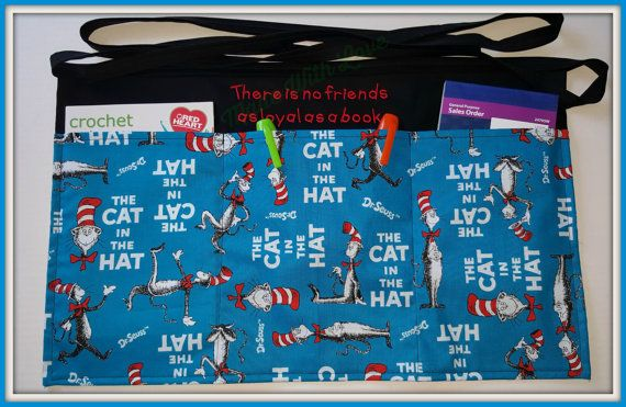 Teacher Apron , Teacher Aprons, Dr.Suess, The Cat In The Hat, 3 Pocket aprons , Half Apron, Children Theme Aprons, Child Theme Aprons