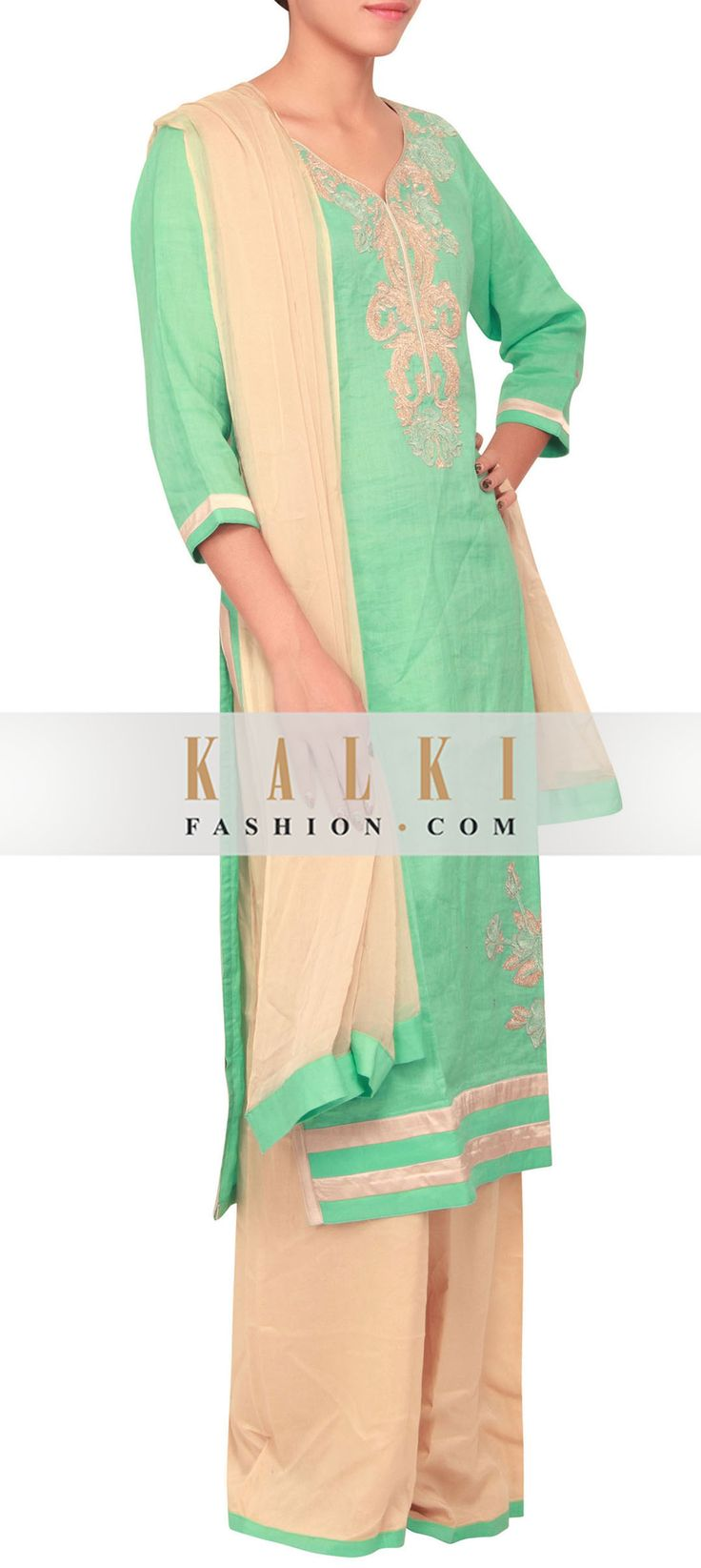 Buy Online from the link below. We ship worldwide (Free Shipping over US$100)    http://www.kalkifashion.com/turquoise-color-threadwork-cotton-silk-salwar-kameez-with-palazzo-pants-only-on-kalki.html