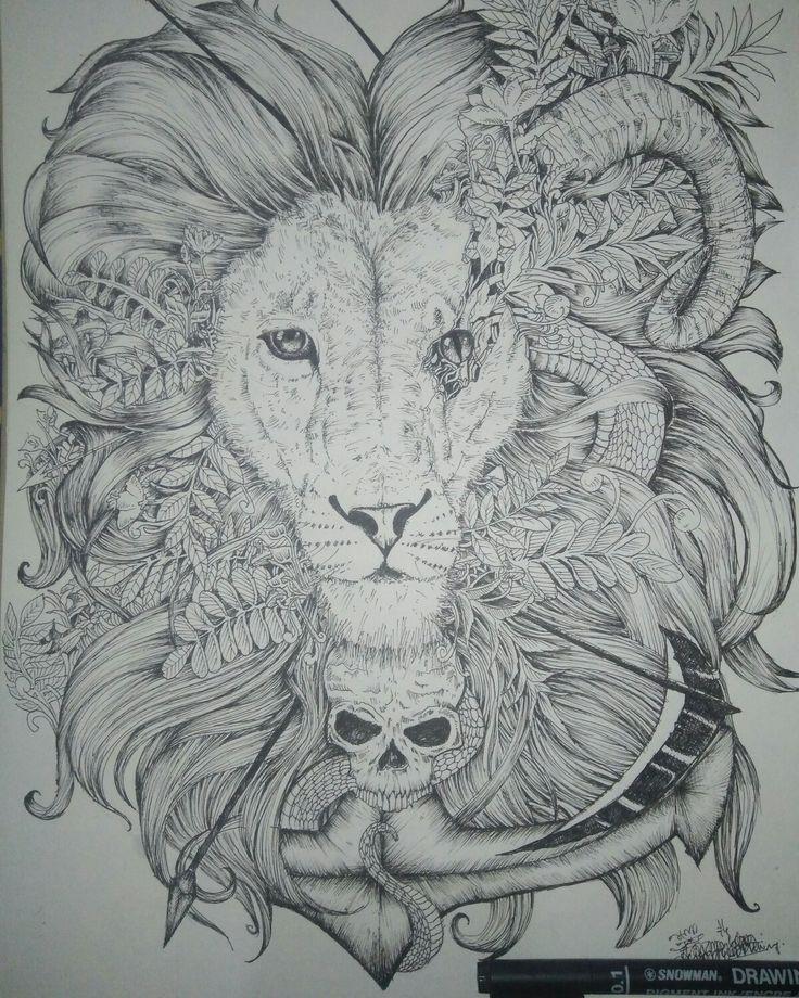 Chimera #art #doodle #draw #lion #seni #sirealism