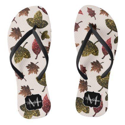 Sparkly leaves fall autumn pattern Monogram Flip Flops - monogram gifts unique custom diy personalize
