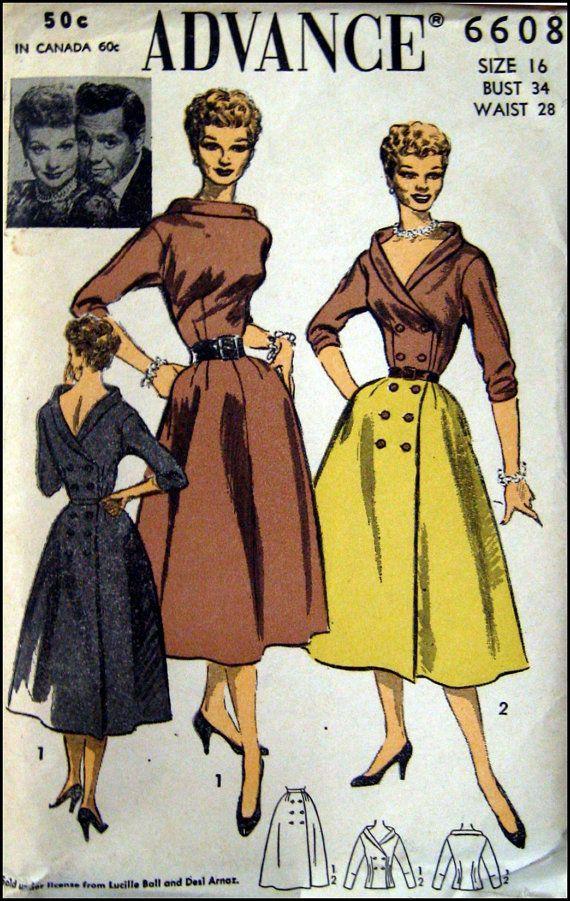 1950s LUCILLE BALL Dress Ensemble   Advance 6608