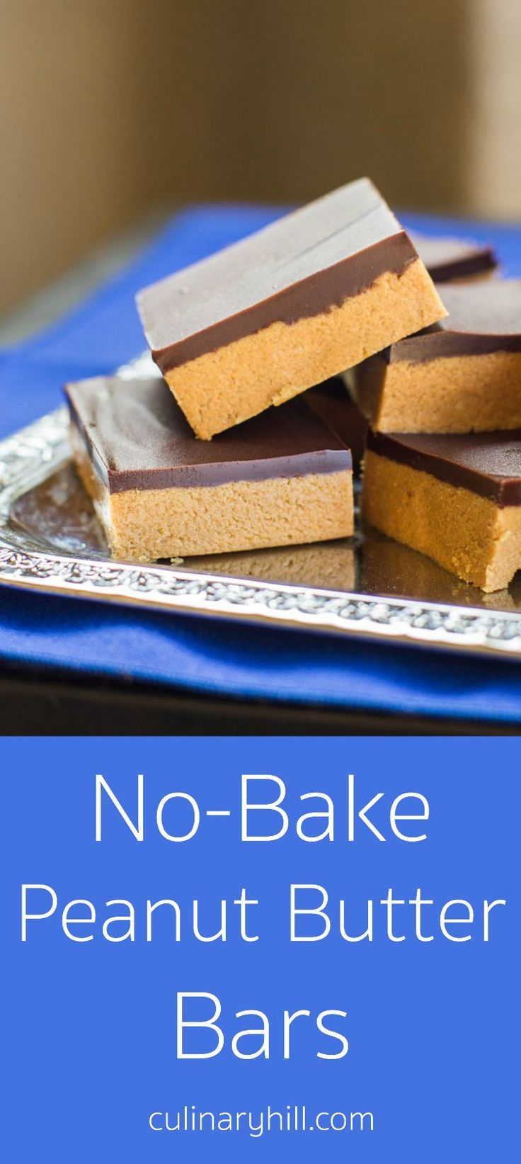 "No-Bake Peanut Butter Bars take only 5 ingredients and 10 minutes (plus chilling time). My Grandma calls them ""Almost Reese's"" for good reason! Naturally gluten-free. (Chocolate Butter Bars)"