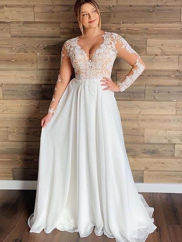 Long Sleeves Lace Chiffon Wedding Dresses Simple Country Wedding Dresses In 2020 Simple Wedding Dress Country Plus Size Bridal Dresses Lace Wedding Dress With Sleeves