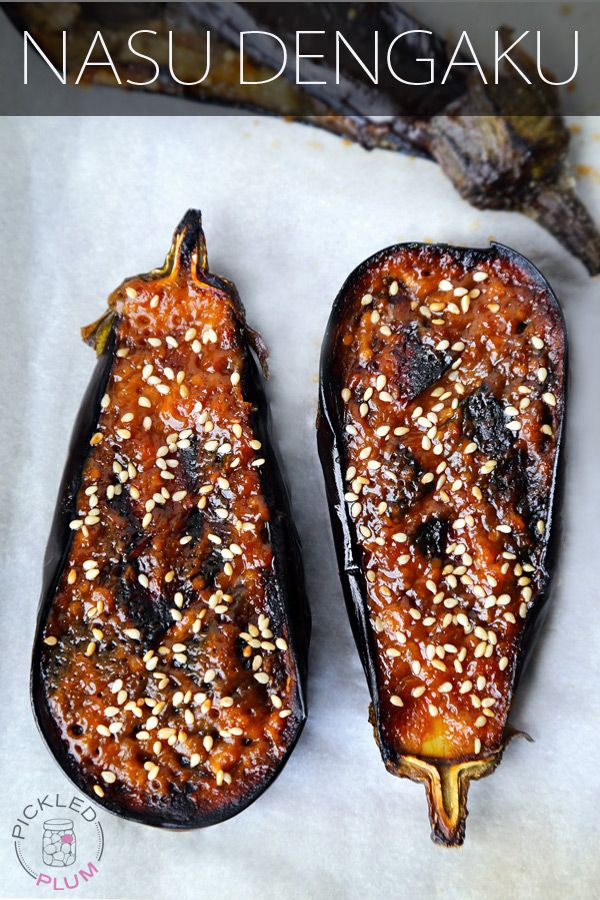 nasu dengaku (Miso glazed eggplant) from Pickled Plum 2 small eggplant (or one medium/large one) 2 tbsp vegetable or canola oil ¼ cup hatcho miso OR 2 tbsp white miso mixed with 2 tbsp red miso paste 2 tbsp mirin 1 tbsp granulated sugar 1 tbsp sake sesame seeds