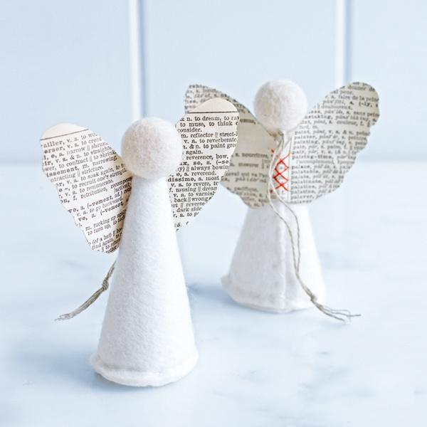 handmade newsprint angel