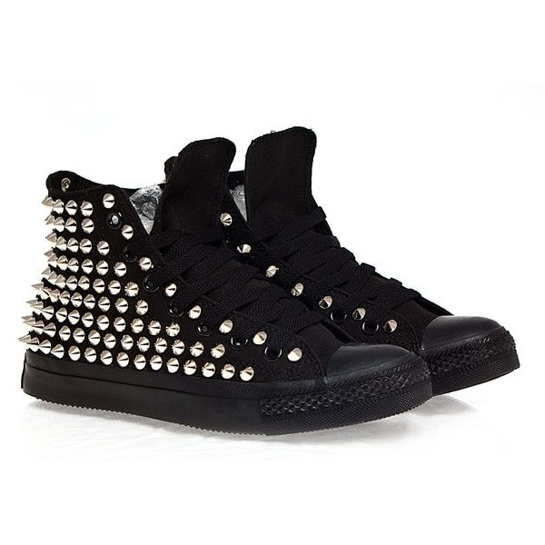 Holiday Promotion, Studded Converse, Silver Studs with converse All... (145 AUD) ❤ liked on Polyvore featuring shoes, sneakers, converse, converse high tops, silver high top sneakers, silver evening shoes, black high top sneakers and black shoes