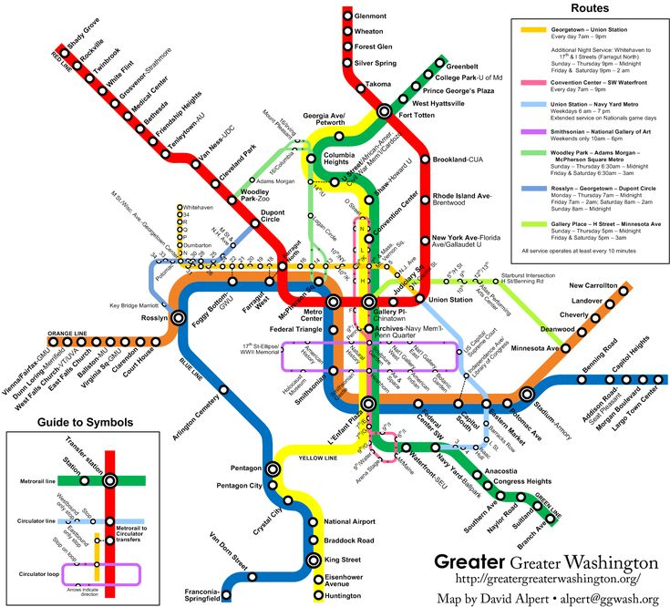Info. Graphics aren't just for news, they're seen and used everyday by people like you and me. This is a layout of the Metro's bus route of the Greater DC area. It shows all of the stops, station names, and color coded to represent the various lines of transport. Today, just about every city has versions of this layout for their major metropolitan public transportation services.