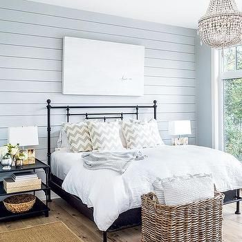 Great Blue Shiplap Wall With Black Iron Bed