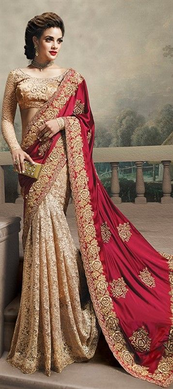 147373, Bollywood sarees, Satin, Brasso, Border, Lace, Machine Embroidery, Sequence, Red and Maroon, Beige and Brown Color Family