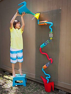 How cool is this DIY water wall?   I need those wiggly connectors? Believe it said they were at Toys r us, but not sure.