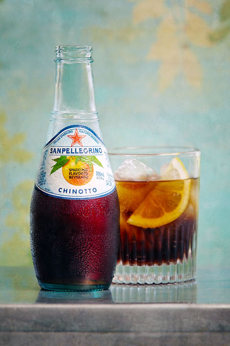 San Pellegrino / Chinotto is a type of carbonated soft drink produced from the juice of the fruit of the myrtle-leaved orange tree (Citrus myrtifolia). Chinotto soda dates back to the 1950s and is produced in Italy by several companies. It is mostly consumed in Italy and Malta.