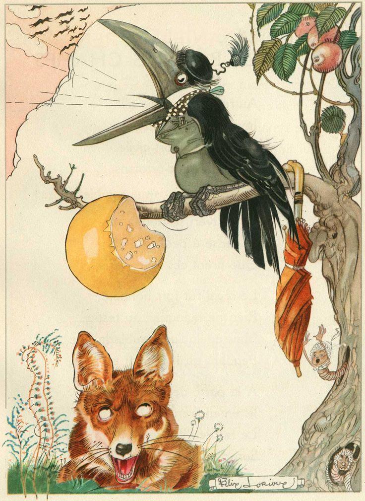 Felix lorioux fox and crow fable story illustrations - Dessin le renard et la cigogne ...