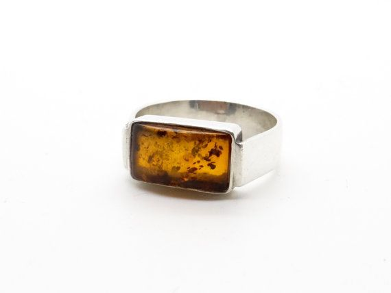 Genuine Baltic Amber Ring - Sterling Silver Ring Size 8 - Unisex Ring - Art Deco Design Jewelry - Wide Band Ring - Big Size Amber Ring at VintageArtAndCraft