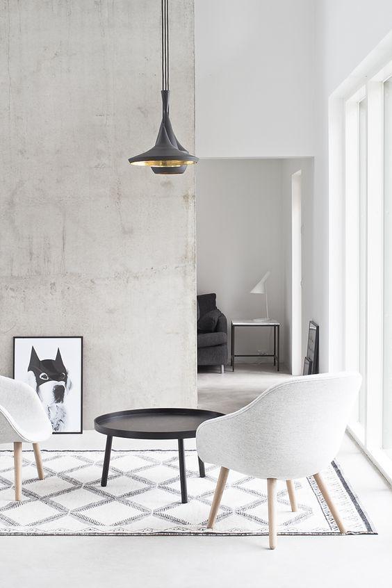Black, white and concrete living.