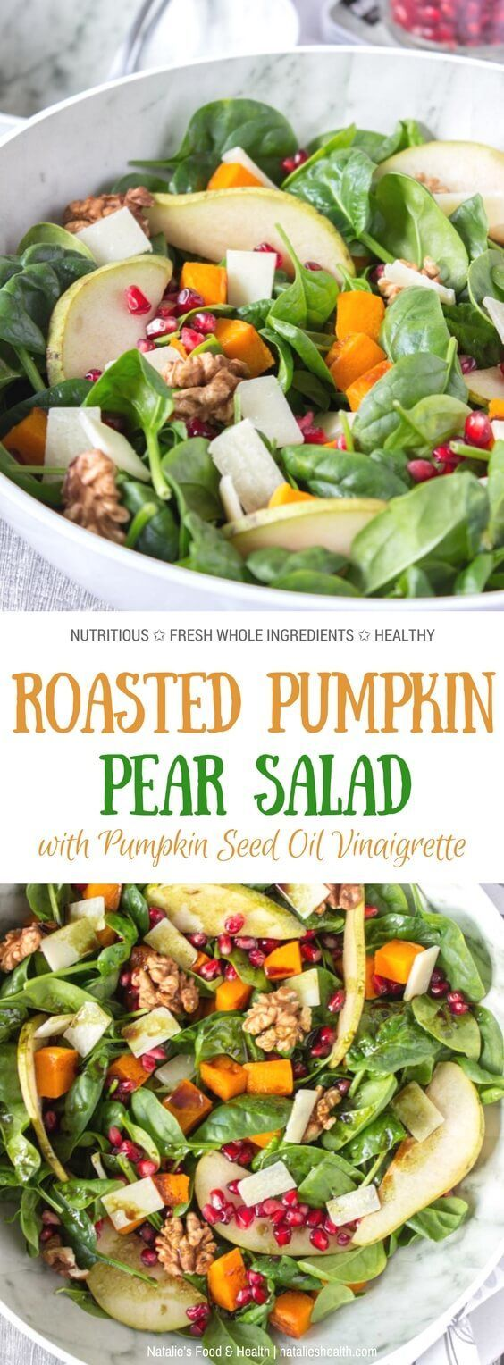 This delicious Roast Pumpkin Pear Salad is made with all FRESH and seasonal ingredients - greens, roasted pumpkin, pomegranate, pear and crunchy walnuts. It's nutritionally enriched with Grana Padano cheese and tossed in a Pumpkin Seed Oil Vinaigrette. This salad is not only flavorful but nutritious and super HEALTHY. Perfect side for Thanksgiving or everyday main meal. #pumpkin #Thanksgiving #holiday #healthy #roasted #vegetables #glutenfree #lowcalorie #skinny #weightloss #cheese #spinach…