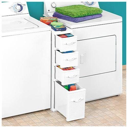10 Awesome Ideas for Tiny Laundry Spaces • Lots of Ideas and Tutorials! Including, from 'rakuten', this awesome drawer unit that fits in the space between 2 machines.