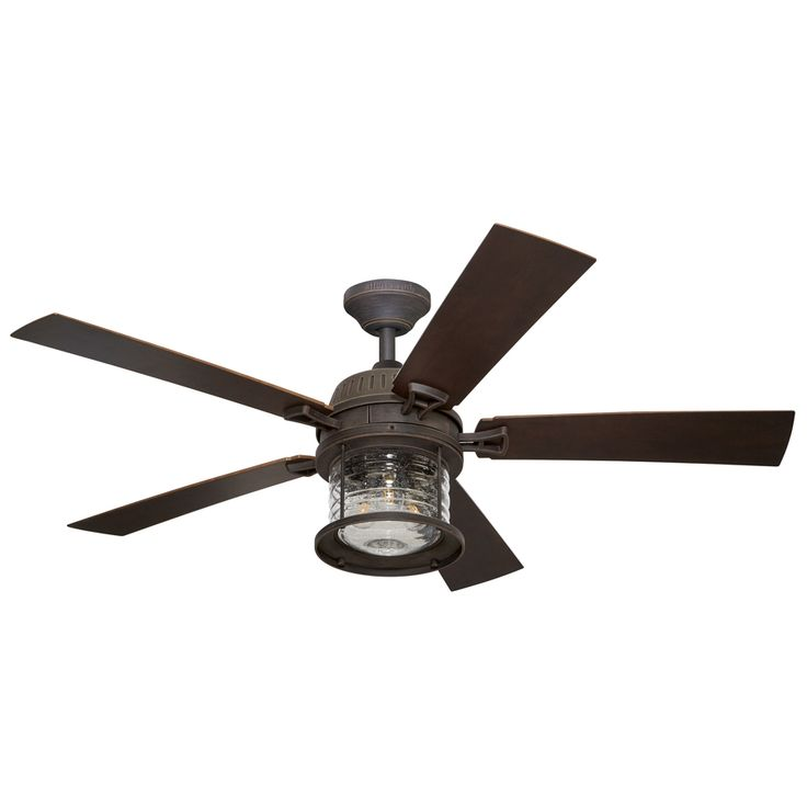 This is the one I think would look good on the patio. Two of them.  Kichler Lighting Stonecroft 52-in Rust Downrod or Close Mount Indoor/Outdoor Ceiling Fan with Light Kit and Remote