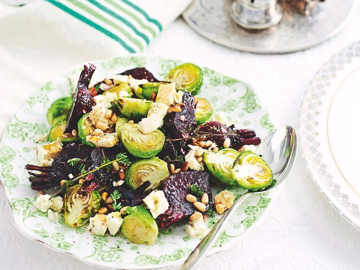 This salad is a winning combo of balsamic-glazed beetroot and earthy Brussels sprouts topped with feta and pine nuts