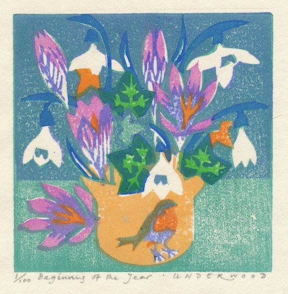 """Beginning of the Year"" by Matthew Underwood (woodblock print)"