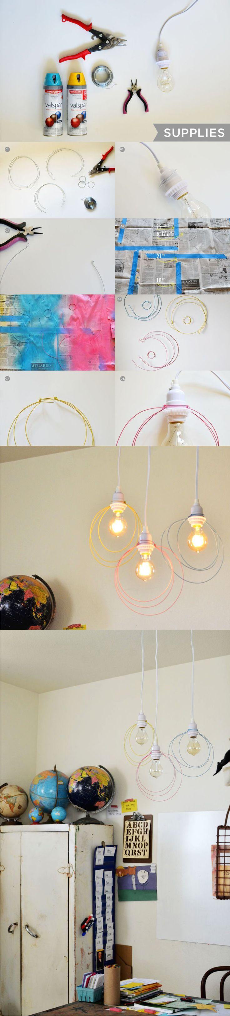 Lámparas de color con alambres / Via www.abeautifulmess.com