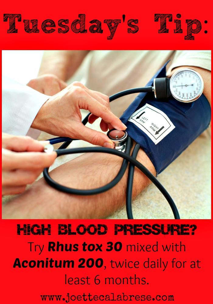 Get homeopathy tips for high blood pressure and several other common ailments. ~joettecalabrese.com