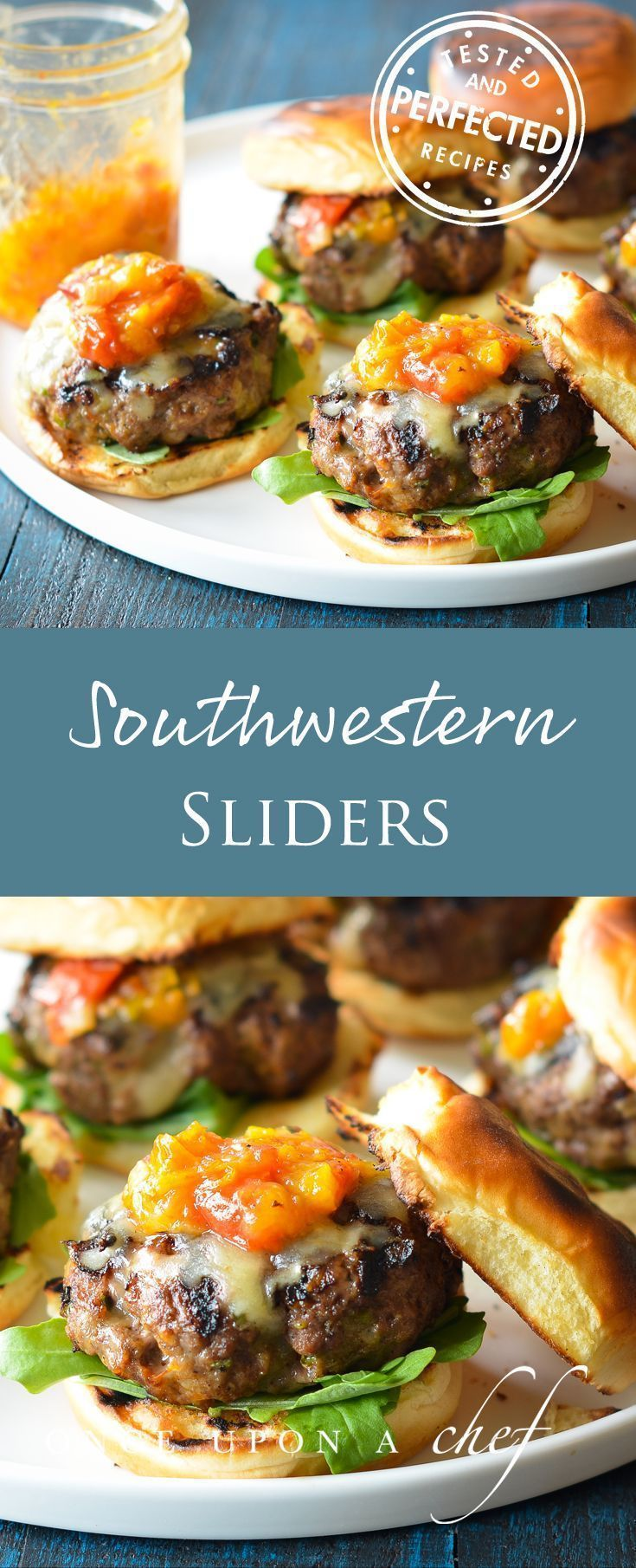 If you�re a fan of Juicy Steakhouse Burgers, you�ll love these drip-down-your-chin sliders jazzed up with smoky Southwestern spices, jalape�o pepper and Jack cheese. They are phenomenal topped with Roasted Tomato Peach Jam, which is more of a tangy-sweet