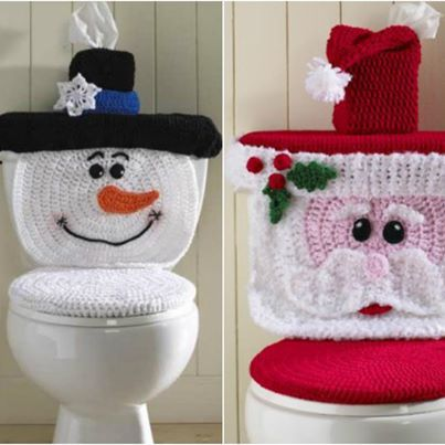 Jogo de Banheiro Papai Noel em crochê