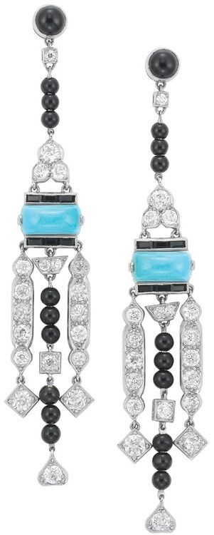 Pair of Diamond, Turquoise and Black Onyx Pendant-Earrings  Platinum, 36 diamonds ap. 2.65 cts., ap. 9.2 dwt. Via Doyle New York.