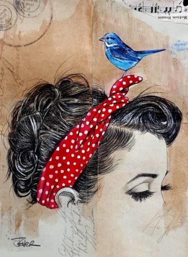 "Saatchi Art Artist Loui Jover; Drawing, ""falling somewhere else"" #art"
