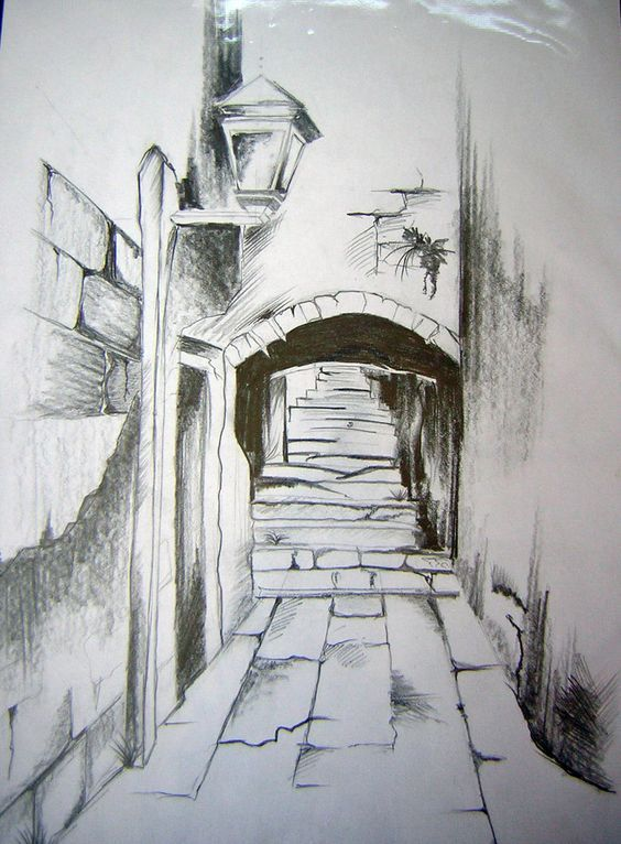 Landscape Drawings in Pencil | pencil drawing by webgirla traditional art drawings landscapes scenery ...: