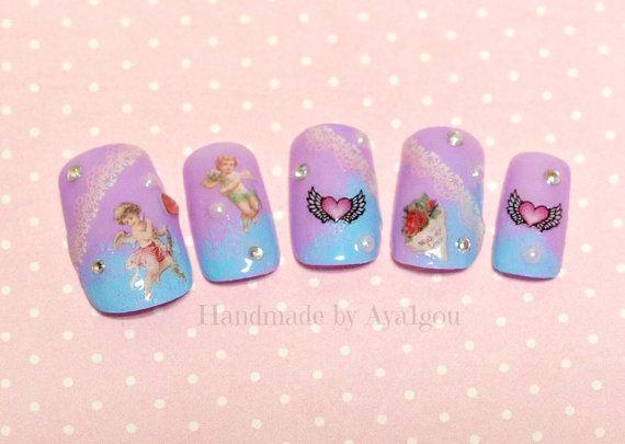 Clou de Fairy kei, ongles japonais, Harajuku, sweet lolita, jolie ongles, ange, egl ongle, mode japonaise, kawaii nial, appuyez sur l'ongle, ongle set
