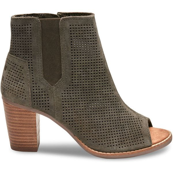 TOMS Cinnamon Perforated Suede Women's Majorca Peep Toe Booties ($64) ❤ liked on Polyvore featuring shoes, boots, ankle booties, olive, peep toe booties, high heel booties, toms boots, olive green booties and olive green ankle boots