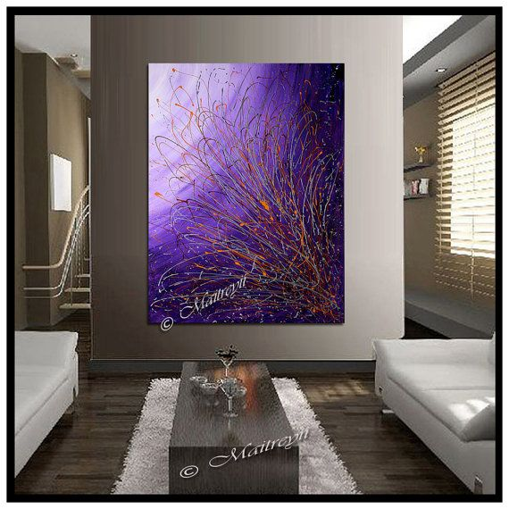 LARGE ARTWORK Pink Purple abstract art Modern Paintings Original Art Contemporary Drip Painting large artwork by Maitreyii on Etsy, $450.00