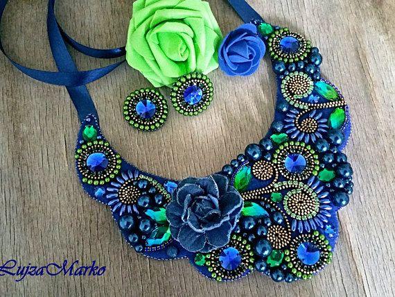 Blue&green denim zipper set jewelry necklace earrings