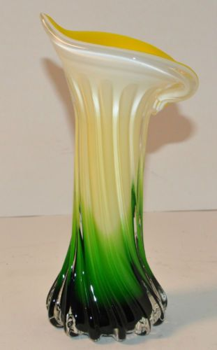 Rp Jack In Pulpit Lily Murano Art Glass Bud Vase Yellow Green And White Ebay Com Glassware