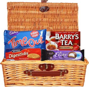 Food Ireland Time Out Gift Basket $35.99 - Time Out Gift Basket ~ Time Out Treatsize 208g (7.3oz), Barrys Gold 80 Tea Bags 250g (8.8oz), Mc Vities Digestive 400g (14.1oz) & Jacobs Elite Tea Cakes 150g (5.3oz).