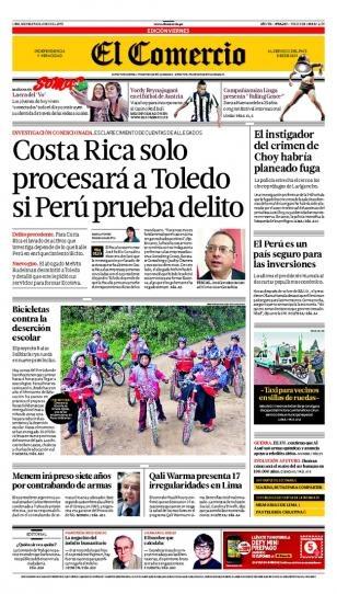 VIERNES 14 de JUNIO DE 2013  (PORTADA DE EL ECOMERCIO)