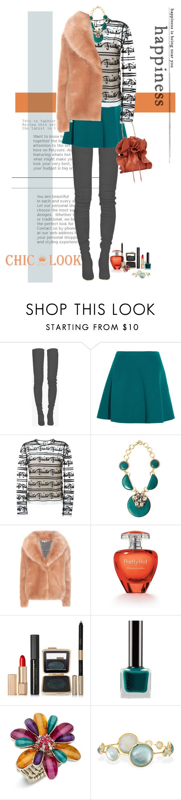 """""""tall boots"""" by justirena ❤ liked on Polyvore featuring Balmain, Miu Miu, Emilio Pucci, Anton Heunis, Opening Ceremony, Estée Lauder, Mixit and Ippolita"""
