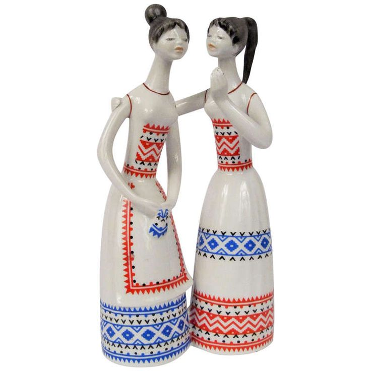 1955 Hollohaza Ceramic of Two Young Women