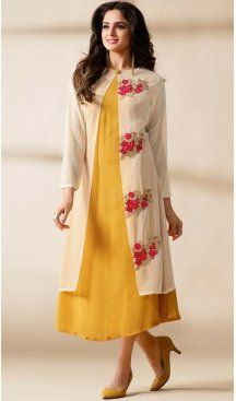 Yellow Color Georgette Embroidered Readymade Kurtis | FH587886509