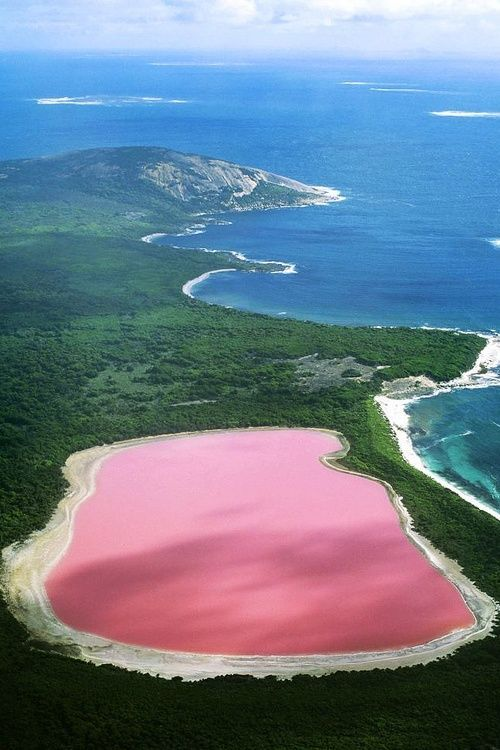 This is the most unique pink coloured lake of the world and it is ocated on the edge of the Recherche Archipelago's island in Australia.
