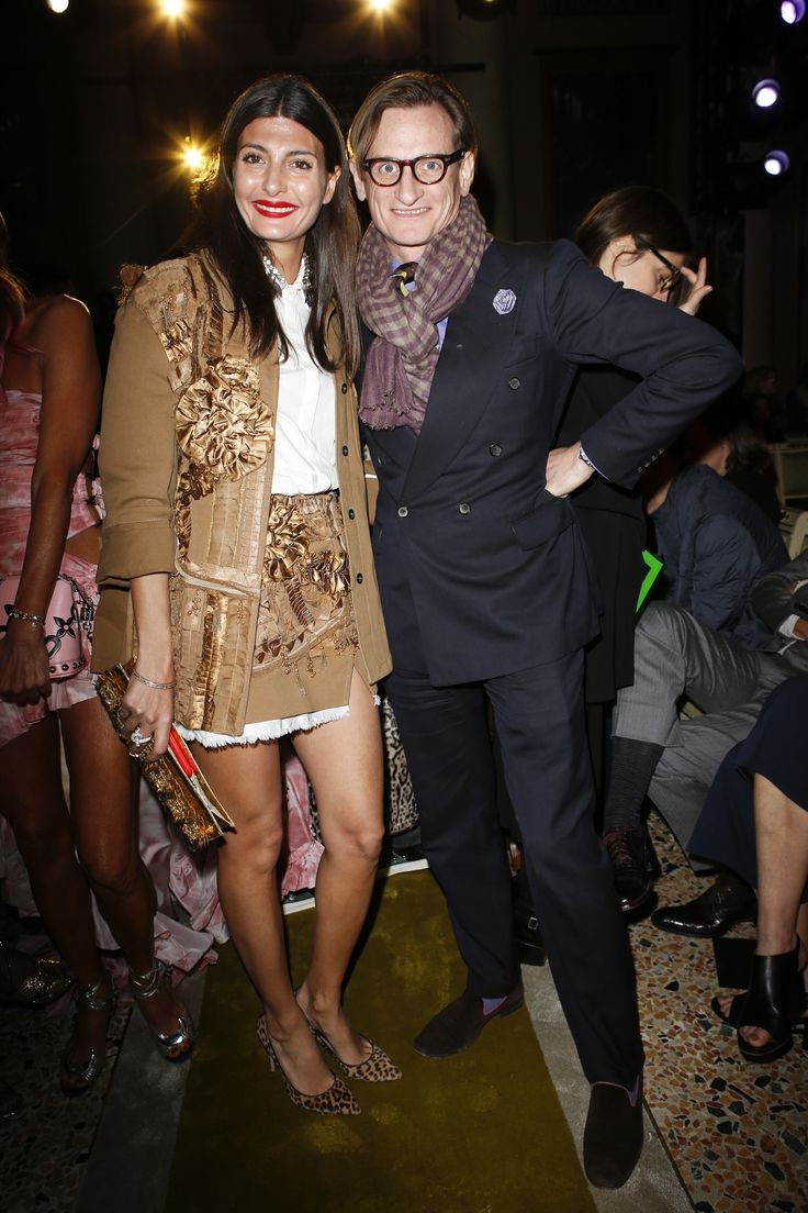 Giovanna Battaglia, Hamish Bowles - Roberto Cavalli Fall 2016 Fashion Show Front Row - February 24, 2016