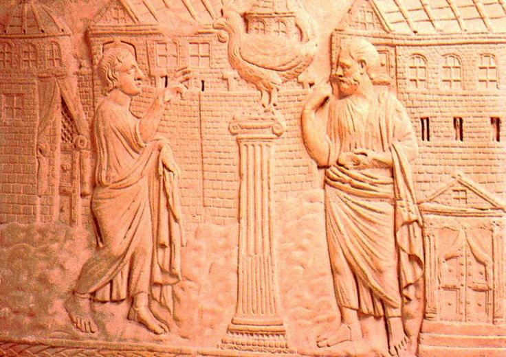 This rendering of Peter's confession – that Jesus is the Christ – is a bas-relief from a 4th century sarcophagus, now in the Vatican Museums.