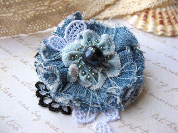 Denim snap hair clip Jeans flower hair clip Blue от SummerForYou