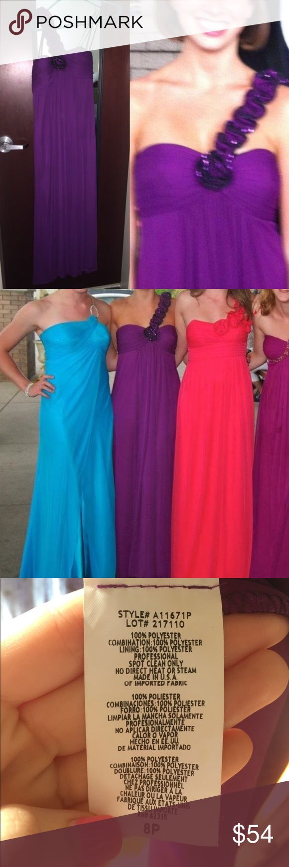 Purple One Shoulder Formal Maxi Dress You will love this beautiful purple gown! It is an 8P. Please see tag photo for the various fabrics used in the dress. Only worn once for a few hours Betsy & Adam Dresses Prom