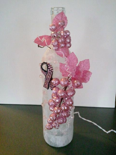 Breast Cancer Awareness Wine Bottle with Lights by TheSecretLady, $34.00