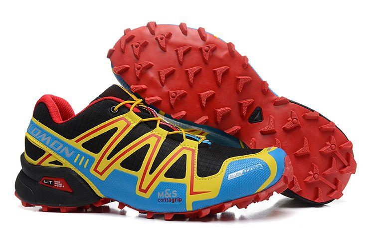 Chaussure de Trail Salomon Speedcross 3 Homme Jaune Cyan Rouge