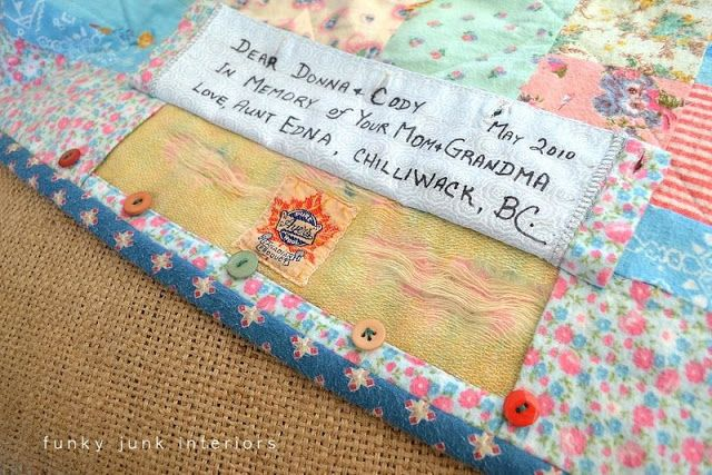A keepsake blanket with a secret message - Funky Junk Interiors: A blanket with a secret