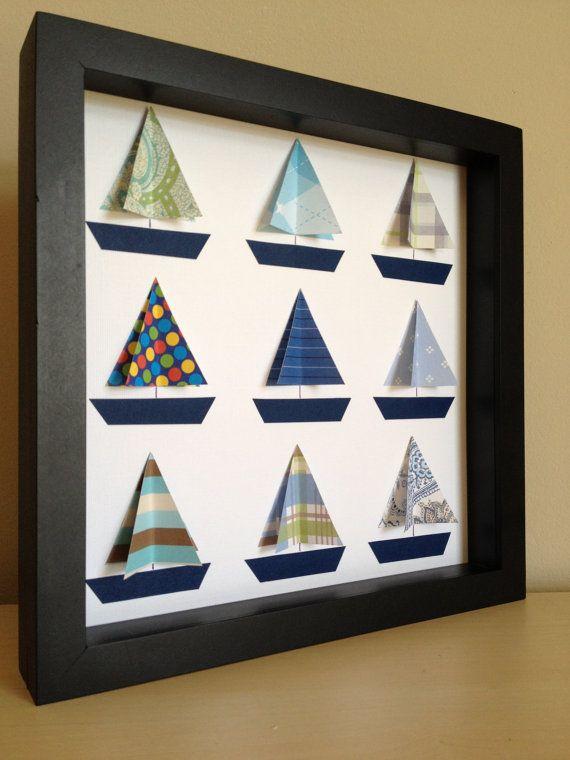 Blue Boat, 3D paper art. $35.00, via Etsy.